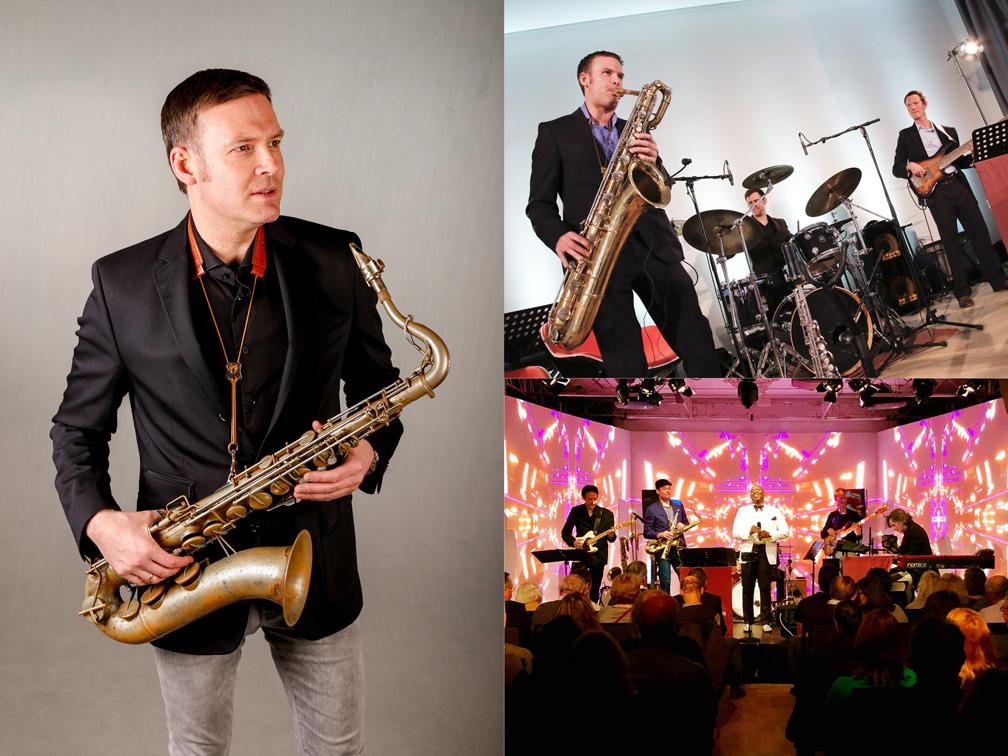 Saxophonist David Milzow mit Tenor-, Bariton-, Sopransax und Liveband The Screenclub