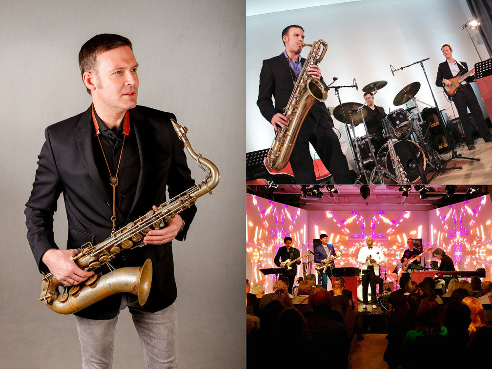 Saxophonist David Milzow mit Tenor-, Bariton-, Sopransax und Liveband The Screenclub