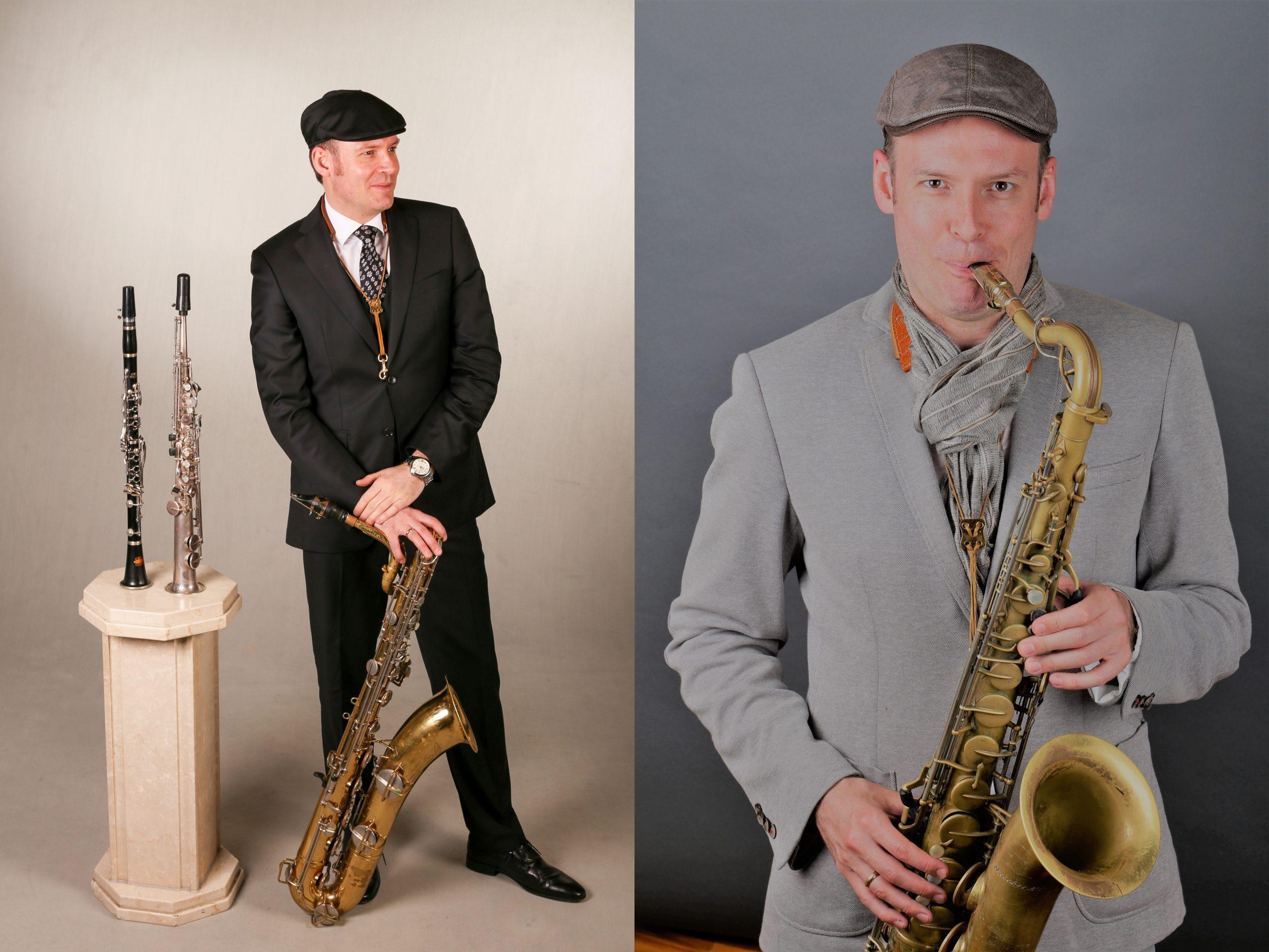 Saxophonist David Milzow mit Tenorsaxophon, Baritonsaxophon, Sopransaxophon, Klarinette
