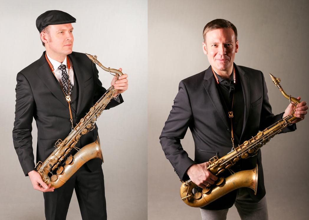 Saxophonist David Milzow mit Tenorsaxophon